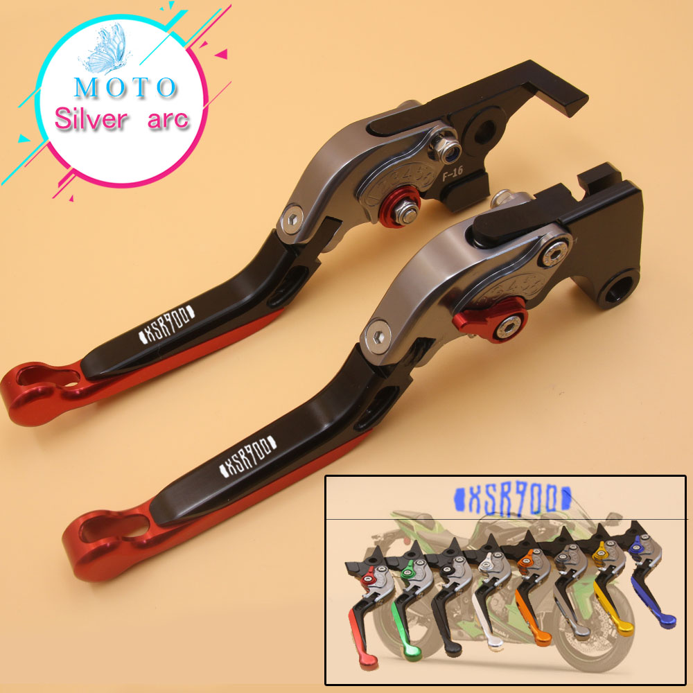 With Logo For Yamaha XSR 900 XSR900 ABS 2016-2017 Red&Titanium Adjustable Folding Extending CNC Motorcycle Brake Clutch Lever blue titanium cnc motorcycle adjustable folding