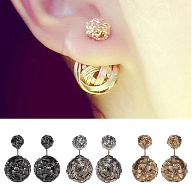 New Two Gold Ball Stud Earrings Double Sides Pearl Earring For S Jewelry