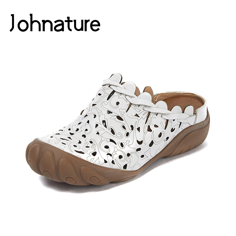 Johnature 2019 New Summer Genuine Leather Floral Outside Slipper Wedges Hollow Platform Sandals Women Women Shoes