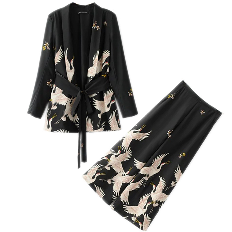 2019New Women  Vintage Clothing Sets Crane Printed Blazer Wide Leg Retro Pant Female Bird Printed Outfit Pant Suits