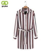 Goplus 2018 الجديدة النساء الربيع مخطط فضفاض قميص اللباس نمط preppy عالية الخصر فساتين أنثى التلبيب عادية خمر vestido C5582