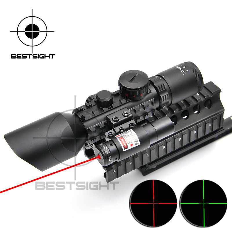 New 3-10X42 E M9 C Mil-Dot Hunting Shooting Riflescope Laser Red Scope Night Riflescope For Airsoft Air Gun Rifle Scope free shipping 4x30 m7 style mil dot reticle airsoft riflescope hunting shooting gun air rifle scope with red laser pointer sight