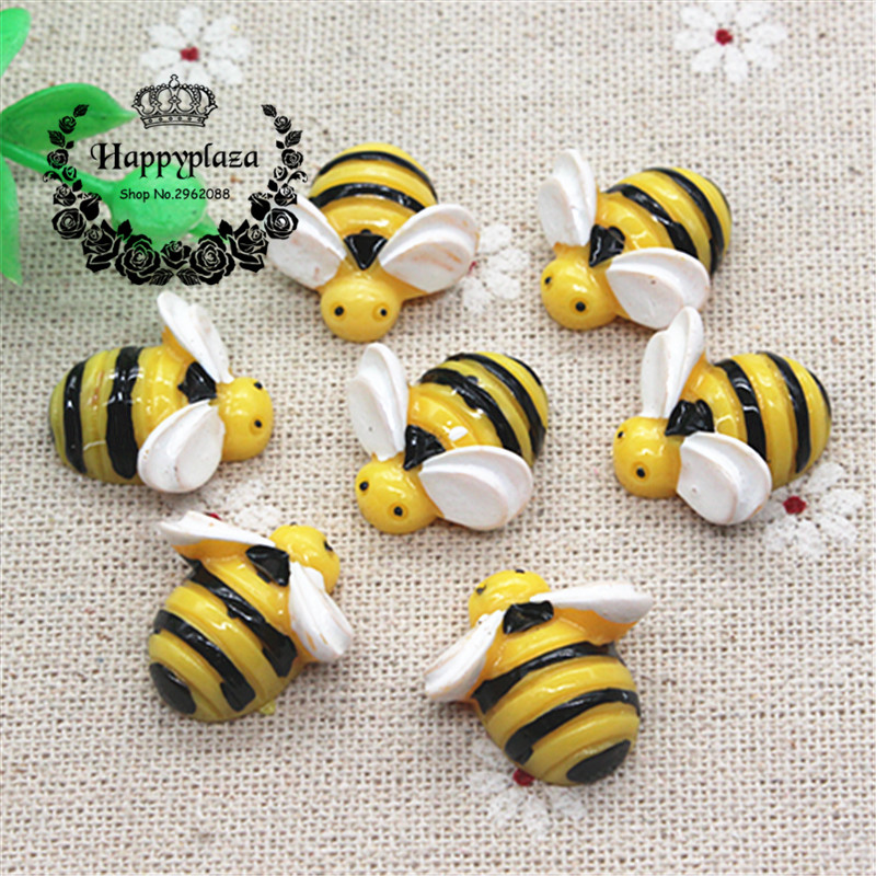 10pcs Kawaii Cartoon Bee Miniature Flatback Cabochon Art Supply DIY Craft Scrapbooking,19mm