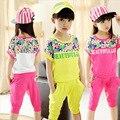 Conjuntos de Ropa de verano para Niñas Impresión de la Letra Niños Ropa Casual Corto T-shirt + Pants juegos de las muchachas 3 4 5 6 7 8 9 10 11 12 años