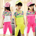 Summer Clothing Sets for Girls Print Letter Children Clothes Casual Short T-Shirt+Pants Girls Suits 3 4 5 6 7 8 9 10 11 12 years