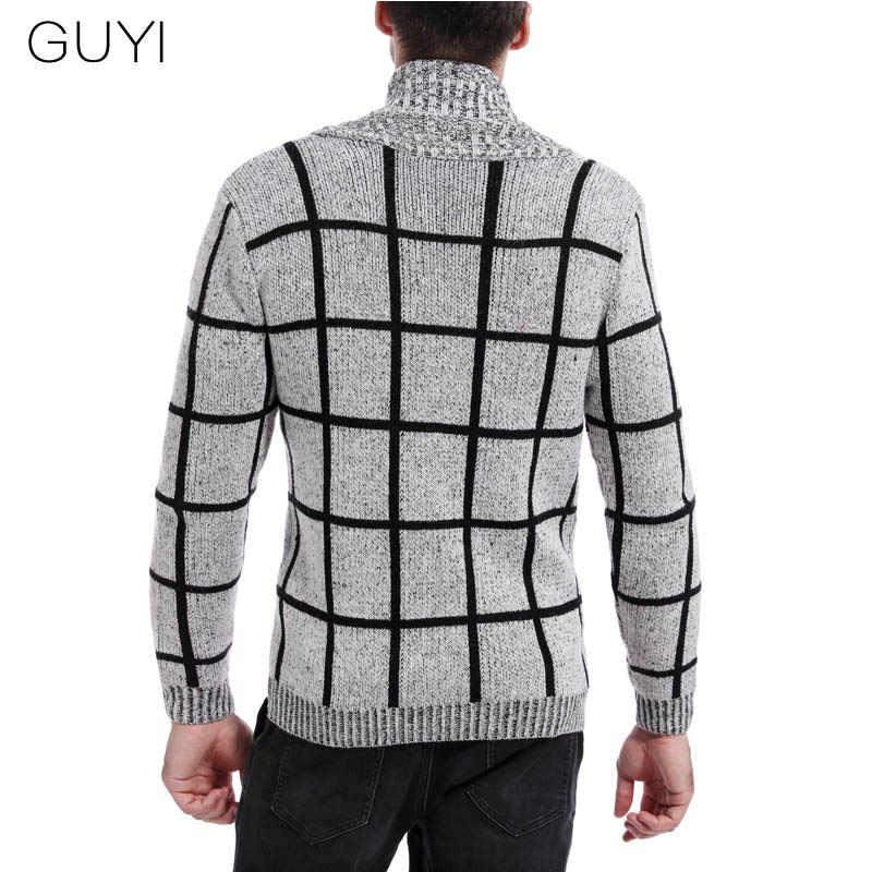 GUYI серый синий клетчатый базовый кардиган мужской длинный рукав v-образный вырез однобортный свитера пэтчворк модные повседневные деловые джемперы