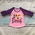 Muchachas del algodón del bebé de pascua raglans algodón niñas boutique rangalns raglans manga niños ropa de los niños del conejito de pascua púrpura
