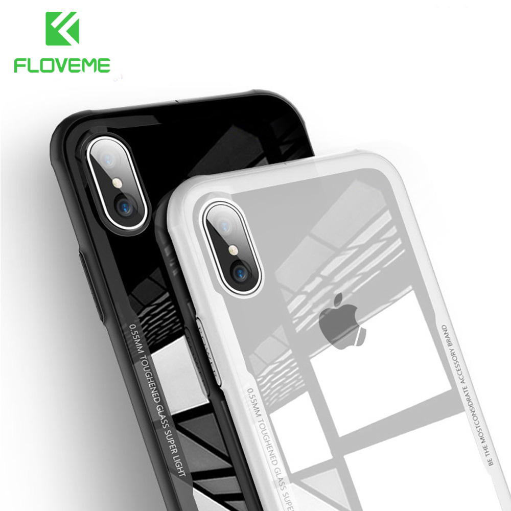 FLOVEME Tempered Glass Phone Case For iPhone X Xs Max Transparent Protective Glass Cases For iPhone 8 7 Plus Cover Coque Capinha iPhone XS