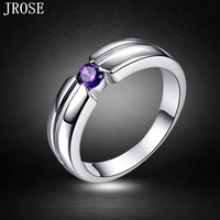 JROSE Wholesale Women Pretty Round Cut Amethyst Jewelry 18K White Gold Plated Couple Rings Size 6 7 8 9 10 Engagement Gift
