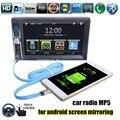 Apoiar câmera traseira do bluetooth FM USB Rádio do carro 2 din 6.6 polegadas porta USB toque estéreo para android espelhamento de tela MP5 player