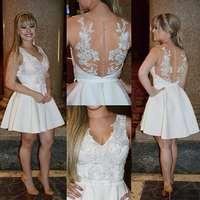 Плюс Размеры белое короткое вечернее платье для выпускного вечера 2019 коктейльные платья