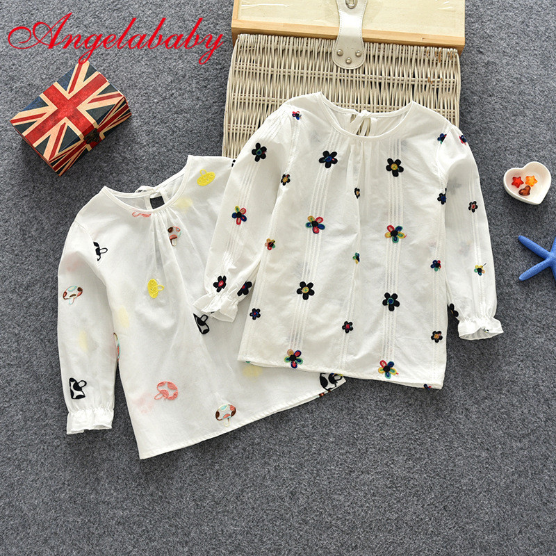 T-Shirt Children Girls Spring Long-Sleeve Blouse Tops Floral Baby Cotton Casual Tees