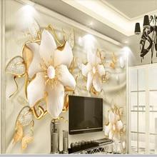 Luxury golden jewels flower silk jewelry TV background wall