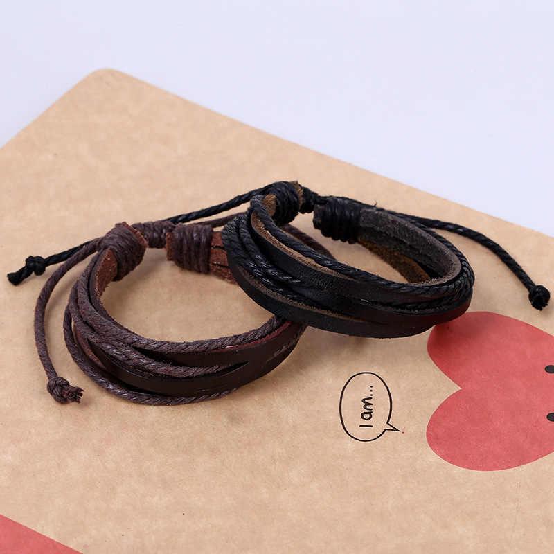 Trenzado de cuero ajustable pulsera popular brazalete de las mujeres casuales de los hombres de la joyería