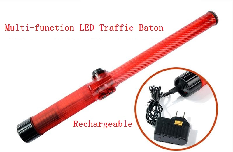 Rechargeable Style LED Traffic Warning Baton With The Whistle Emergency Ann Glo-sticks 54cm 4cm outdoor led double color traffic warning flashing wand baton police ref baton safety signal command indicator tool