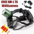 CREE XM-L XML T6 LED 1600 Lumens zoom Rechargeable LED Headlight CREE For 2x18650 Battery (not include) + Charger