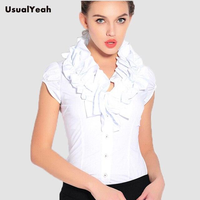 2017 novas Mulheres Casuais Blusas Camisa Do Corpo de manga Curta Babados Gola Babados blusa feminina verão tops branco S-XXL SY0255