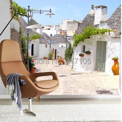 Custom photo wallpaper, Mediterranean city street landscape. 3D Mural for living room bedroom kitchen wall waterproof wallpaper daikin fcqg100f rq100bv