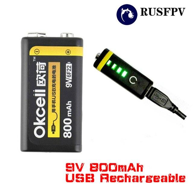 OKCELL 9 V 800 mAh Micro entrada USB batería recargable Lipo de litio para RC helicóptero modelo micrófono