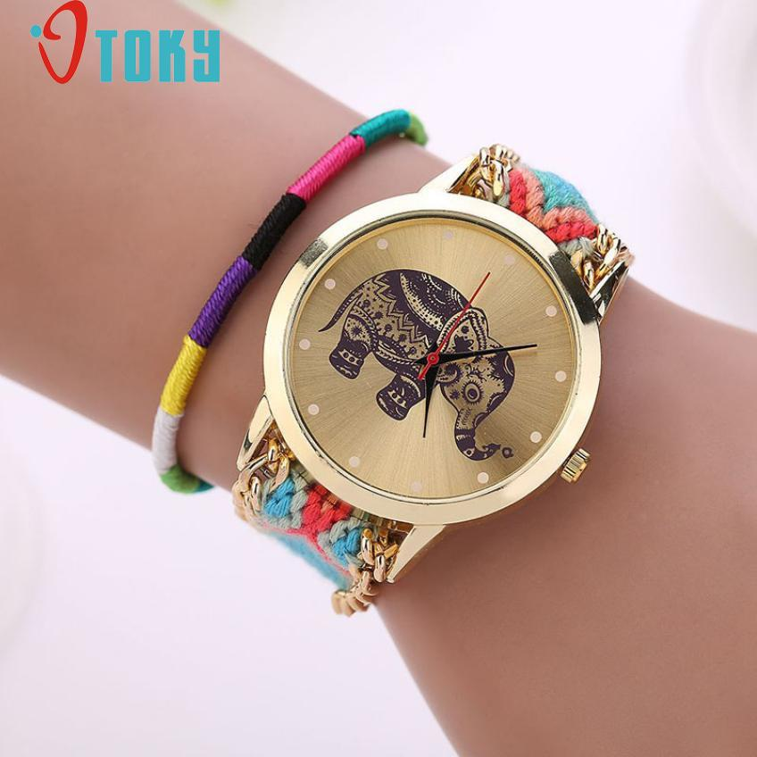 Novel Design relogio feminino Retro Clock Women Girl watches Handmade Braided Elephant Bracelet Dial Quarzt ladies watch jy15 mance 13colors new fashion brand handmade braided friendship bracelet watch geneva hand woven watch ladies quarzt watches reloj