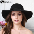 Ladybro 2016 Autumn Summer Wide Brim Sun Hat Women Fedora Hat Floppy Cloche Beach Bowknot Cap Chapeau Imitation Wool Bowler Cap