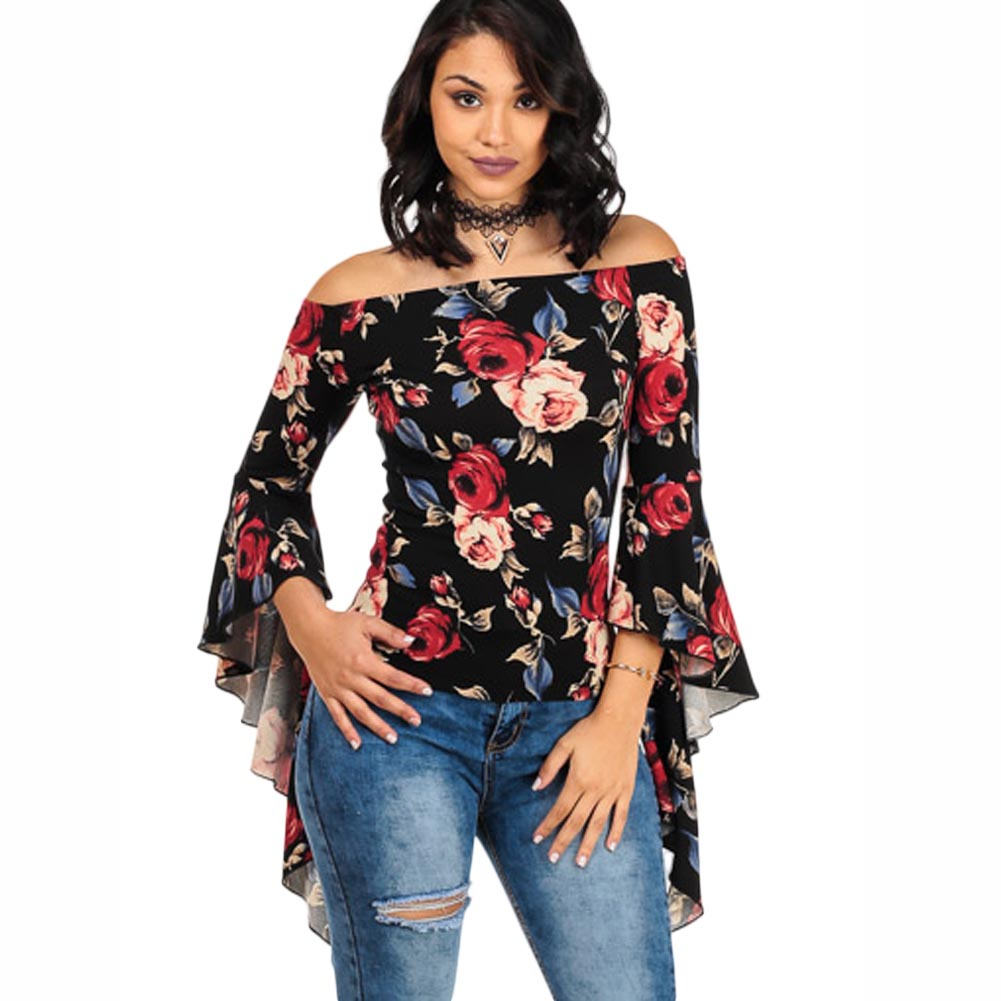 2017 New Fashion The Printed Word Shoulder Big Trumpet Sleeve Blouse Female Shirt Blouse size S-XL In stock Free shipping