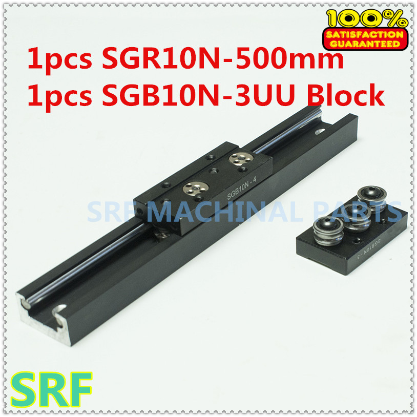 High quality Aluminum Square Roller Linear Guide Rail 1pcs SGR10N Length=500mm +1pcs SGB10N-3UU three wheel slide block high rigidity roller type wheel linear rail smooth motion belt drive guide guideway manufacturer