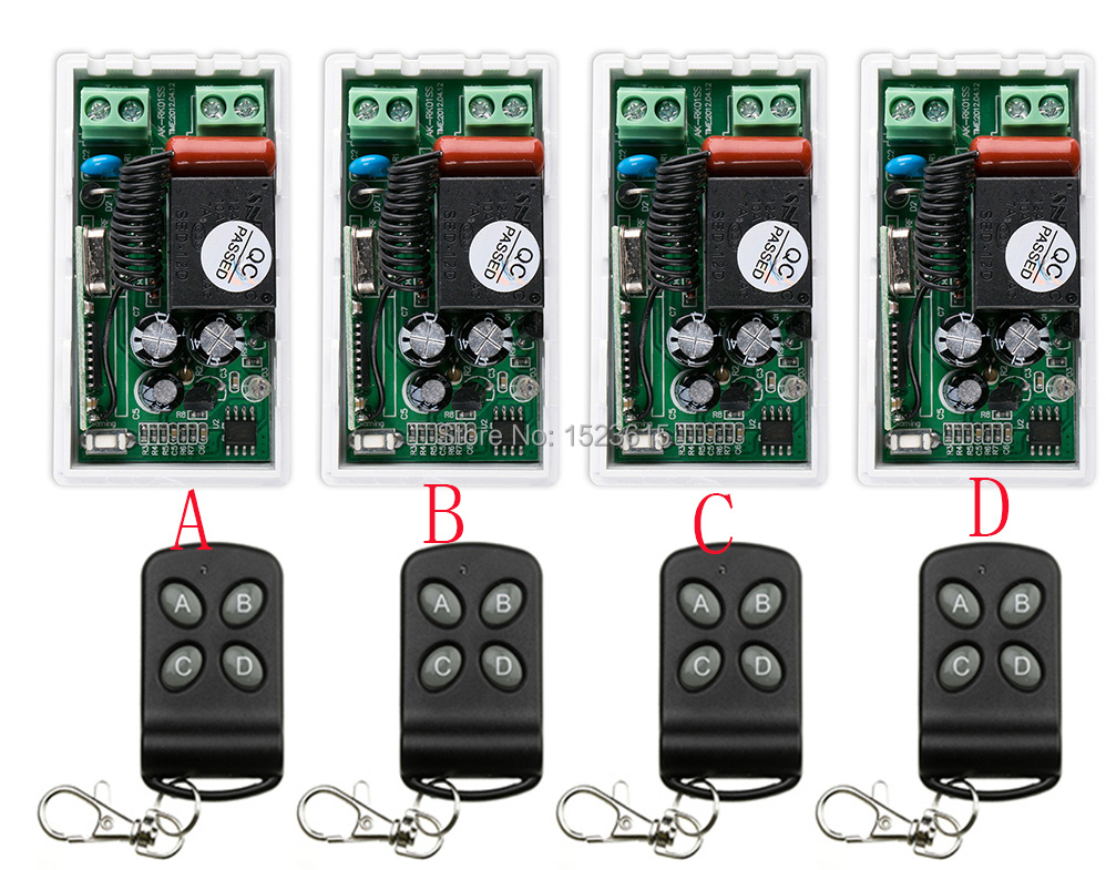 NEW AC220V 1CH Wireless Remote Control System 4 transmitter and 4 receiver universal gate remote control /radio receiver платье to want to yx15qz1691 2015 9 13