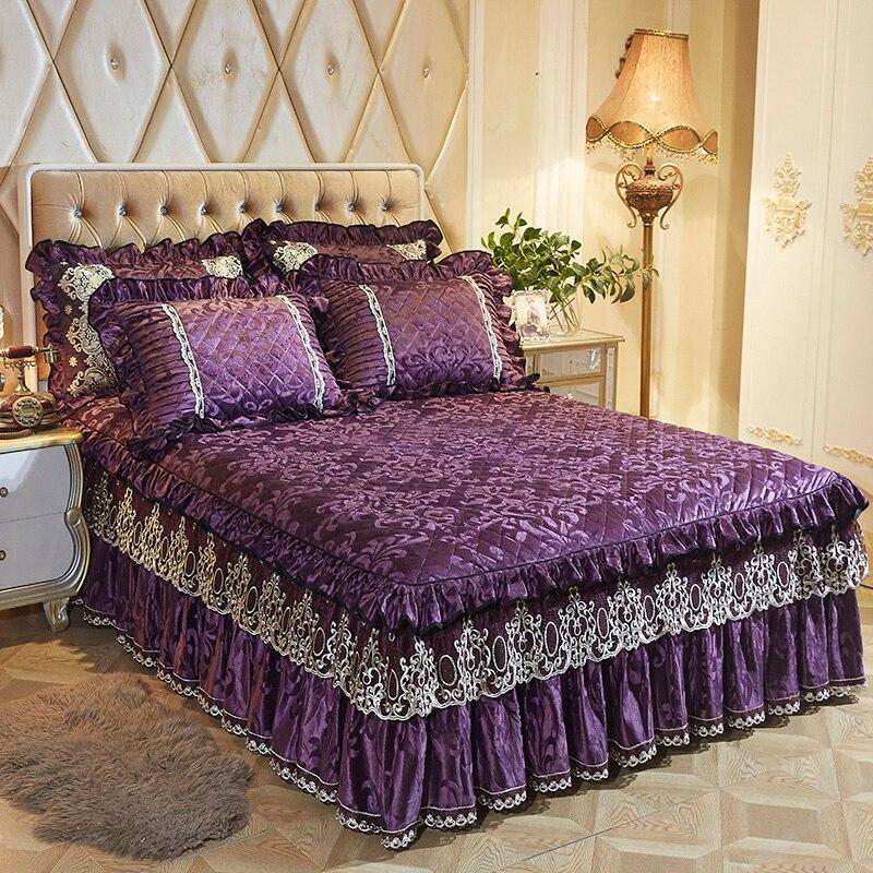 160X200cm Fleece Quilted Bedspread Bedskirt Twin Queen King size Bed sets Bedsheet Bed cover parure de lit adulte ropa de cama