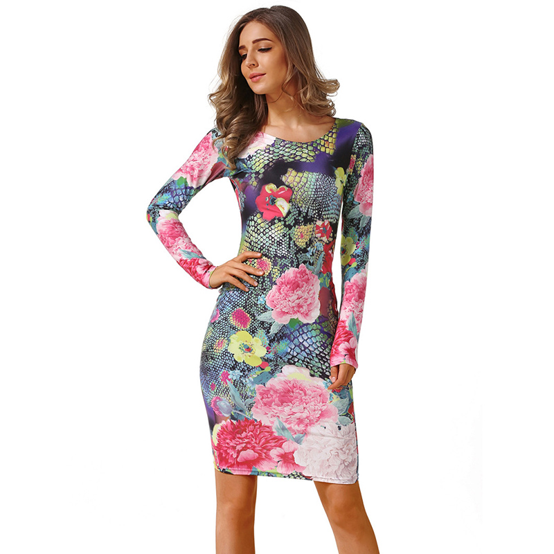 Fashion Spring Summer Dress Women 2018 Casual Long Sleeve High Elastic Floral Bodycon Dress Sexy Slim Party Dress Plus Size