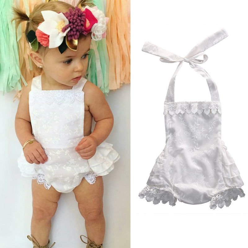 6e4129dda Cute Newborn Kids Baby Girls Clothes Infant Lace Ruffled Rompers Jumpsuit  Outfits Sunsuit 0-24M