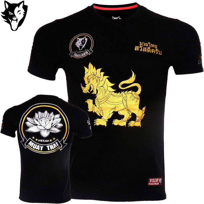 VSZAP MMA Fitness Kirin Lotus Pattern Thai Boxing Sports Sweater Cotton Boxing Jerseys Tiger Muay Thai Jerseys MMA T Shirt