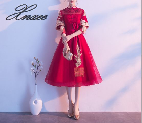 2019 new red Chinese style slim mid length dinner dress