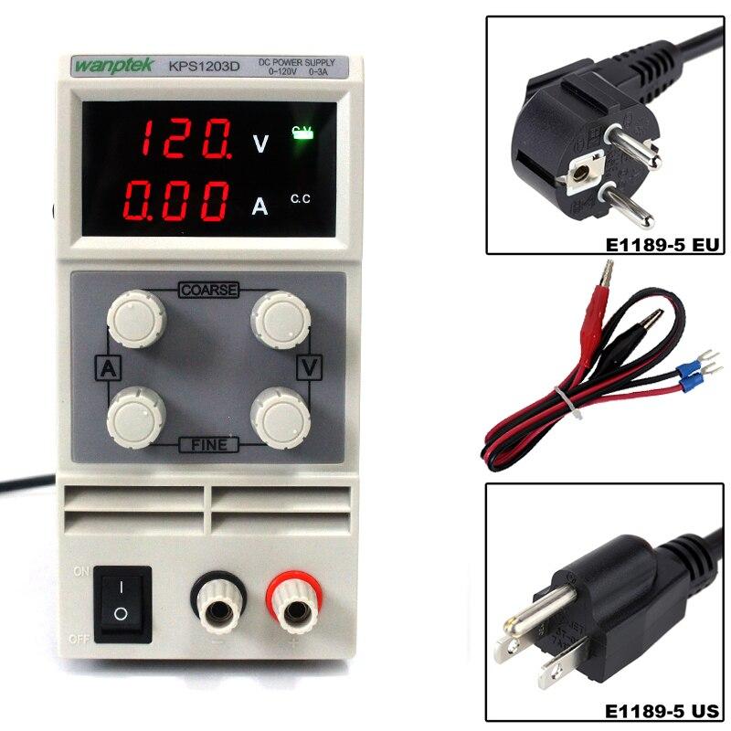 KPS1203D 110V/220V Adjustable High precision digital LED display switch DC Power Supply  0 - 3A 0 - 120V 0.1/1V 0.01A  EU UKKPS1203D 110V/220V Adjustable High precision digital LED display switch DC Power Supply  0 - 3A 0 - 120V 0.1/1V 0.01A  EU UK