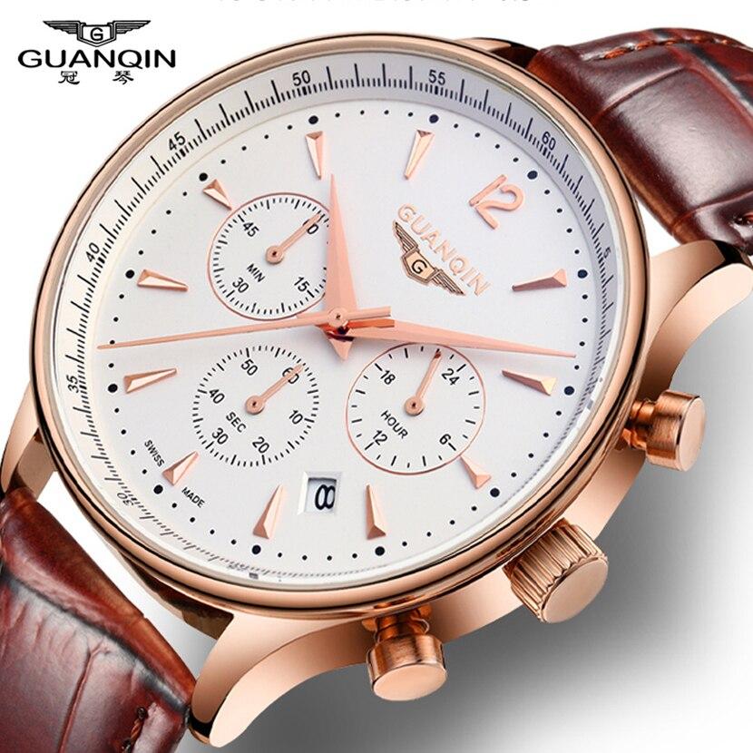 GUANQIN Νέα μόδα ρολόγια Ανδρικά Πολυτελή Πρωτότυπο Brand Ανδρικά δερμάτινα Quartz ρολόγια αδιάβροχο αρσενικό ρολόι relogio masculino