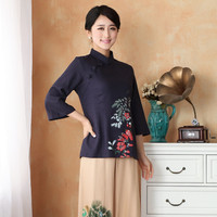 New Arrival Chinese Style Cotton Linen Female Tang Suit Tops Blouse Traditional Three Quarter Shirt Plus Size S TO 4XL 2395