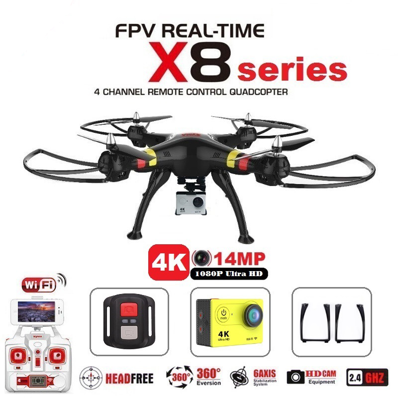 Syma X8G X8C X8W X8HG X8HW X8 FPV RC Drone With H9R 4K Camera Helicopter RC Remote Control Drone Quadcopter RTF Helicopter syma x8hw x8hg x8w x8 fpv rc drone with 4k 1080p wifi camera hd altitude hold 6 axis rtf dron rc quadcopter helicopter vs mjx b3
