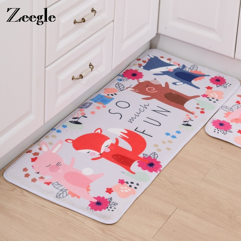 Zeegle Bear Printed Cartoon Welcome Corridor Mats Absorbent Rug For Kitchen Living Room Bedroom Carpets Anti-slip Kids Play Mats