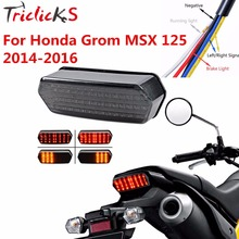 Triclicks 80W Motorcycle Tail Lamp New Integrated LED Turn Signal Brake Tail Light Smoke Fits 2014 2015 2016 Honda MSX Grom 125