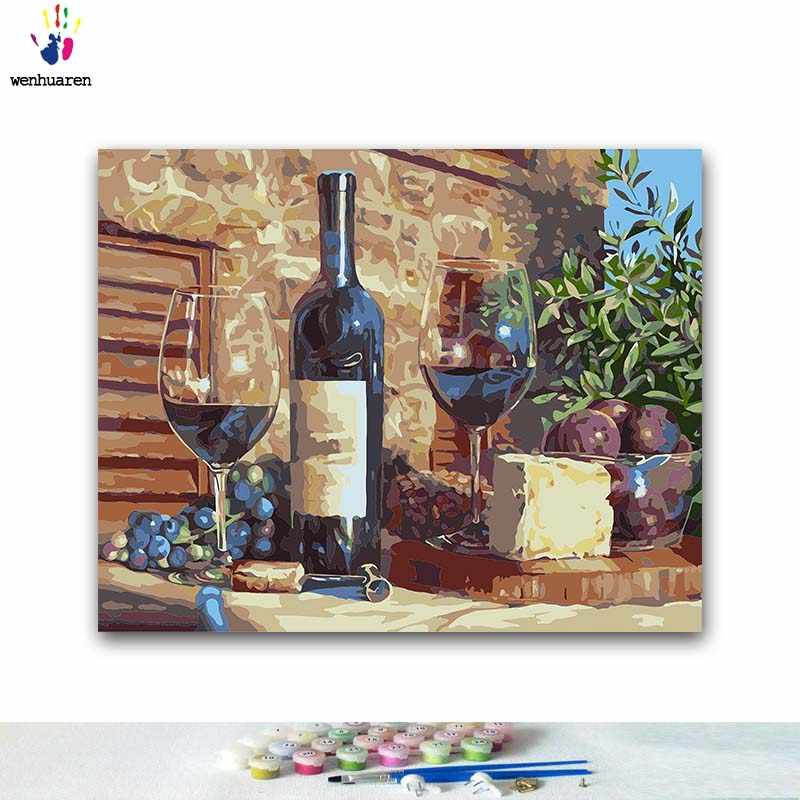 DIY Coloring paint by numbers Fruit and wine on the table paintings by numbers with kits 40x50 framed