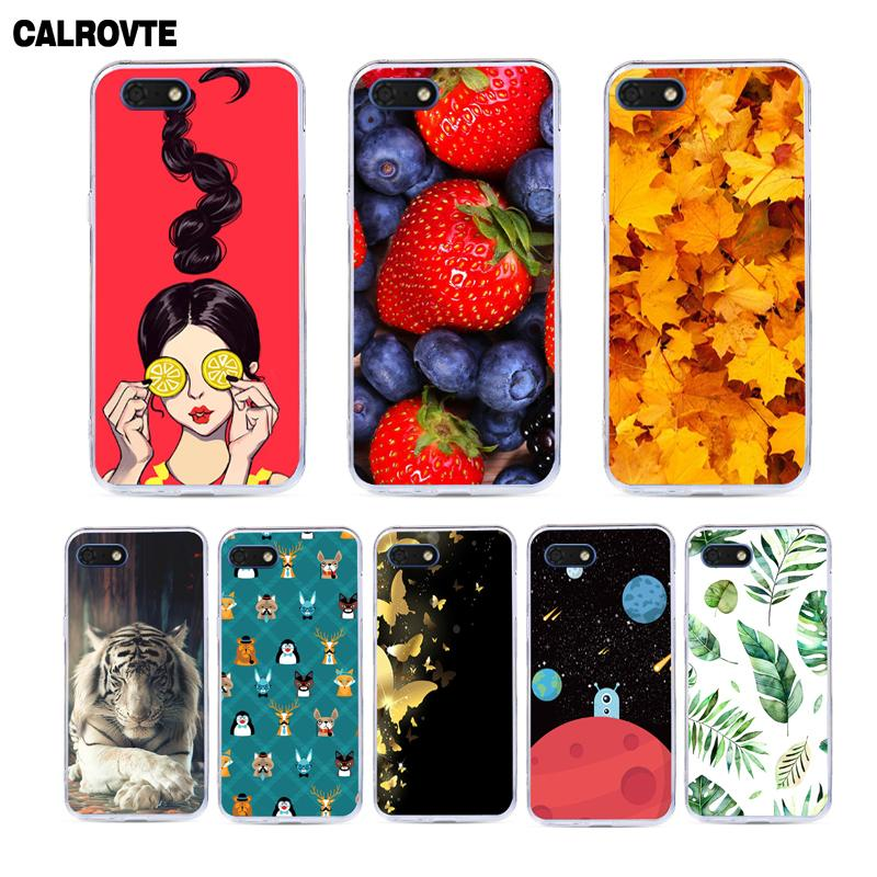 CALROVTE Flower Leaf Print Phone Cover For <font><b>Huawei</b></font> Y5 Prime 2018 Y5 Lite 2018 <font><b>DRA</b></font>-<font><b>L21</b></font> <font><b>DRA</b></font>-L22 <font><b>DRA</b></font>-LX2 <font><b>DRA</b></font>-LX5 Case Silicone Coque image