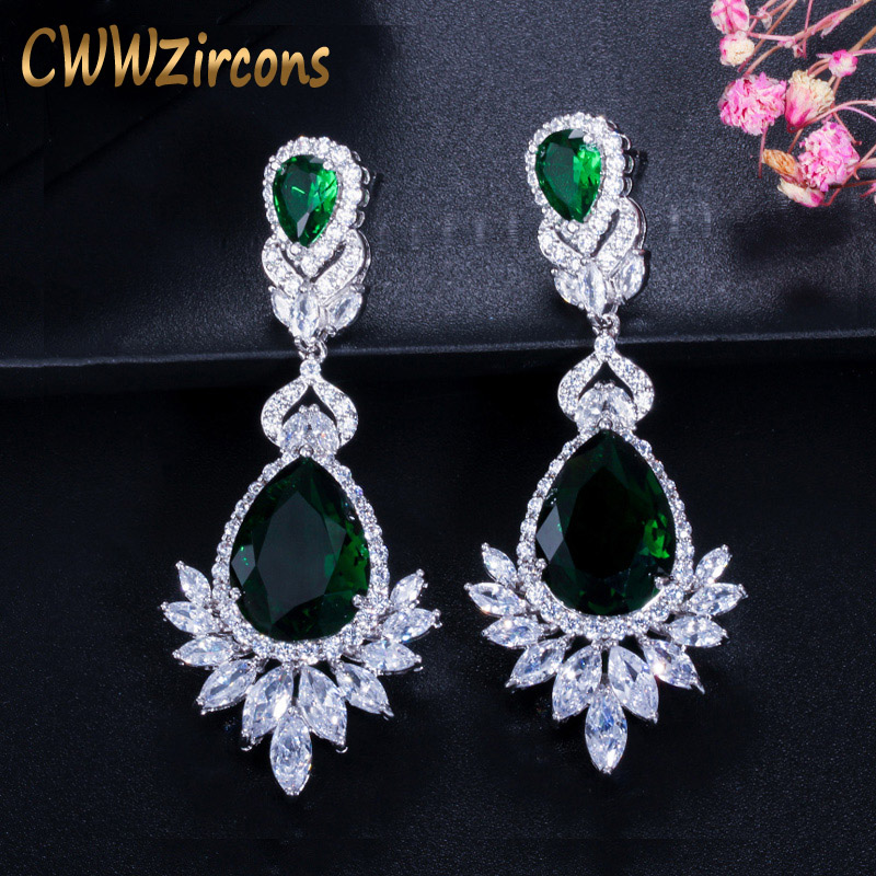 CWWZircons Boda romántica Souvenir Joyas Larga gota CZ Cristal Verde Nupcial Pendiente de araña de boda para novia CZ112