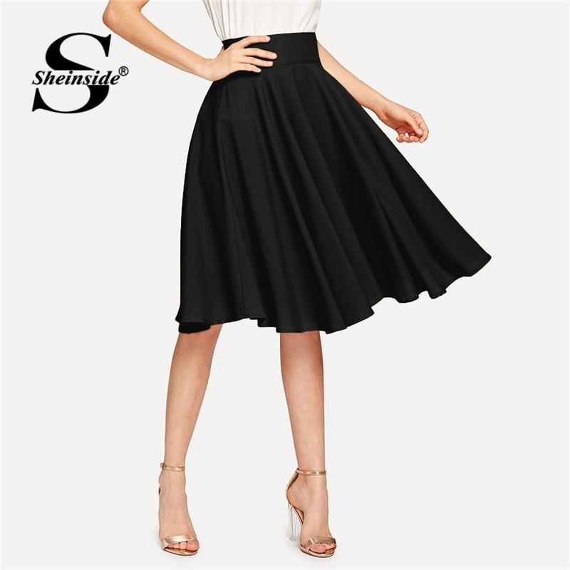 bd67da6be Falda plisada de cintura ancha elegante negra de Sheinside para mujer 2019  faldas acampanadas de cintura alta Casual para damas primavera Falda Midi  ...