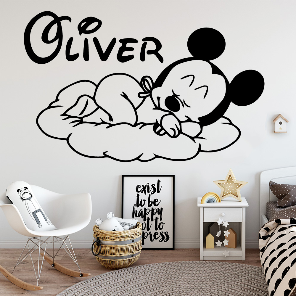 Custom Name Mickey Mouse Vinyl Wall Sticker Decor For Nursery Room Kids Babys Room Decoration Decal Stickers Murals wallstickers