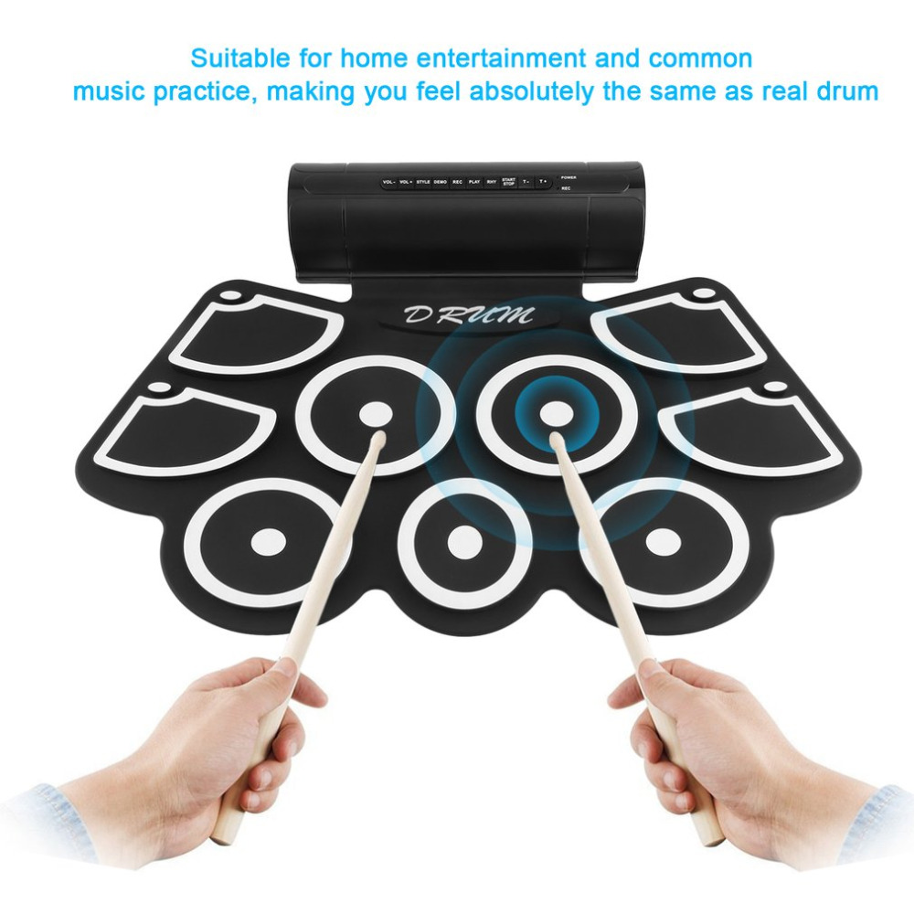 2018 Hot Electronic Roll Up Drum Pad Set 9 Silicon Pads Built-in Speakers with Drumsticks Foot Pedals USB 3.5mm Audio Cable cherub drum tuner accurate built in rechargeable battery mic pick up for snare drum jazz drum set kit high sensitivity