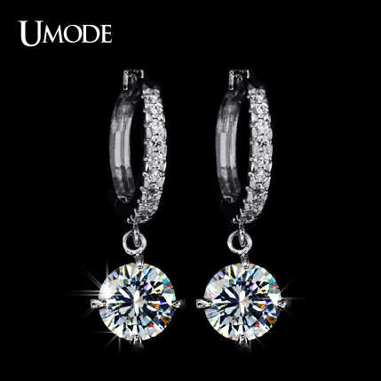 UMODE Loop with 8mm Round Top Grade CZ White Gold Color Hoop Earrings For Women Anti-allergic Jewelry Boucle D'oreille UE0014