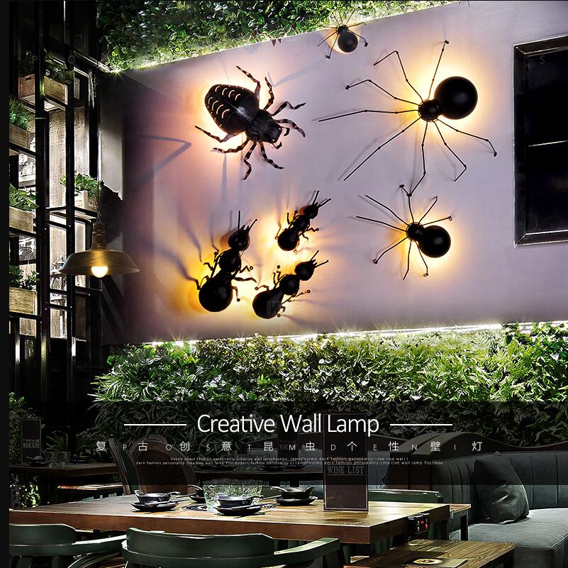 Novelty LED Ant Spider Beetle wall lamps Interesting animal insect wall lights black iron wall lamps wall luminaire bracket lamp