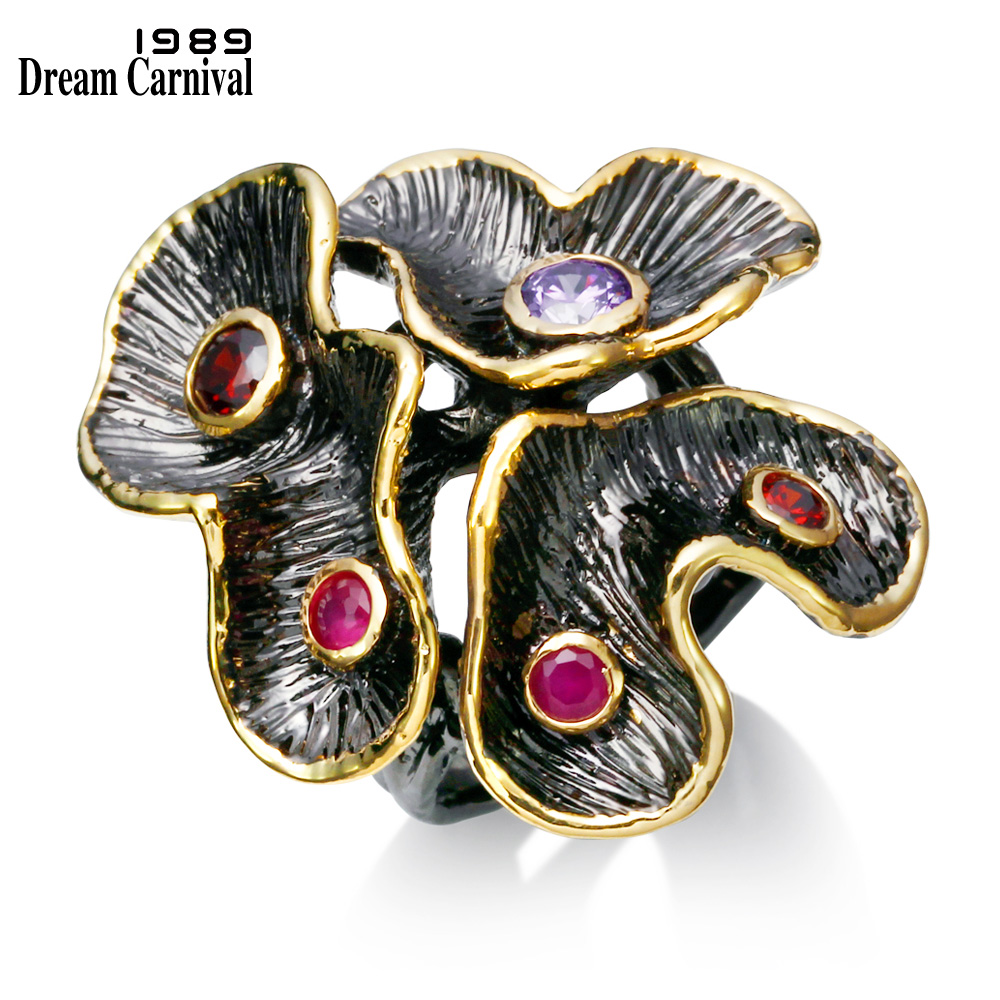 DreamCarnival 1989 Vintage Flower Party Jewelry Antique Gold Color Rojo Púrpura CZ Diseño de Invierno Anillos Anillos de Moda ZR14136