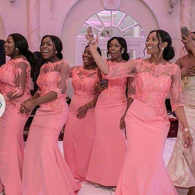 Elegant Coral Long Bridesmaid Dress 3 4 Sleeves Nigerian Wedding Ceremony Dress  Maid of Honor Wedding Party Bridesmaid Dresses 855e3730d2b3