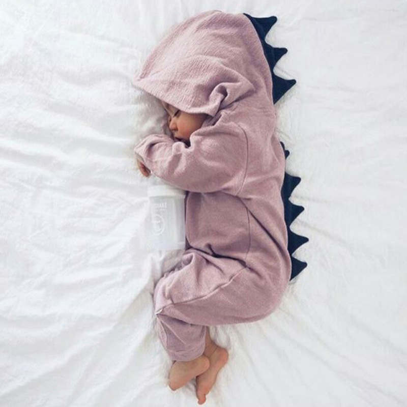 Cartoon Dinosaur Design Hooded Baby Rompers Newborn Clothing Cotton Long Sleeve Jumpsuits Boys Girls Outerwear Costume Baby Gift newborn winter autumn baby rompers baby clothing for girls boys cotton baby romper long sleeve baby girl clothing jumpsuits